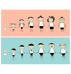 Man and woman during different life stages vector