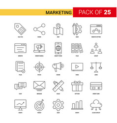 Marketing black line icon - 25 business outline vector
