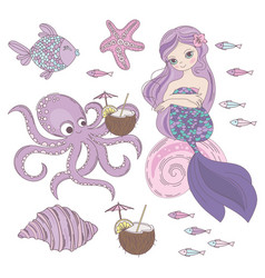 mermaid dessert underwater princess vector image