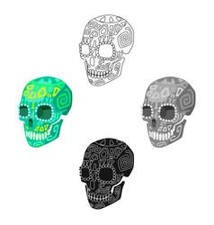 Mexican calavera skull icon in cartoonblack style vector