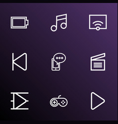 multimedia icons line style set with cellphone vector image