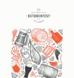 oktoberfest banner hand drawn greeting beer vector image