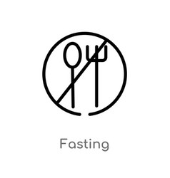 Outline fasting icon isolated black simple line vector