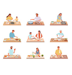 People cook tasty food set characters share vector
