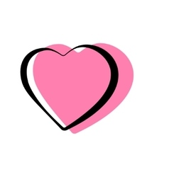 Pink heart shaped outlined icons vector image
