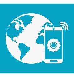 Planet and smartphone Internet of things design vector