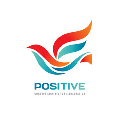positive - abstract colored bird logo temp vector image