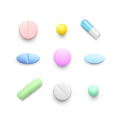 Realistic color pills set color drug capsules vector