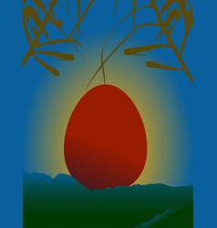 Red easter egg on serene sunset over mountains vector