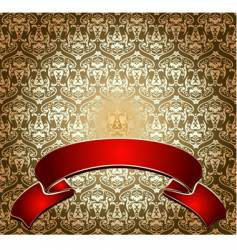 Red on gold ornate banner vector