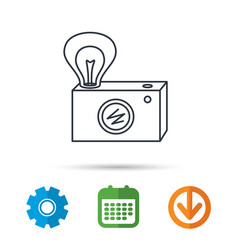 retro photo camera icon photographer equipment vector image