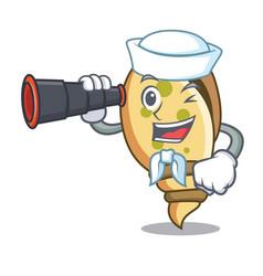 Sailor with binocular sea shell mascot cartoon vector