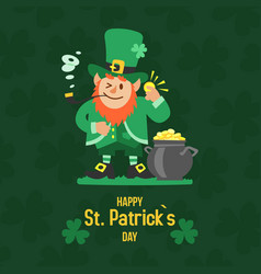 saint patricks day with treasure leprechaun vector image