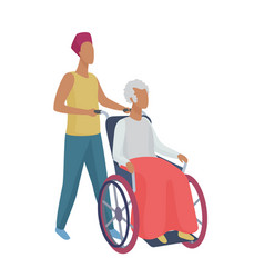 senior woman in wheelchair with careful young man vector image
