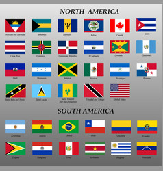 set flags americas vector image