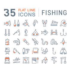 set flat line icons fishing vector image