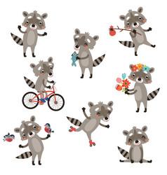 set funny raccoons vector image