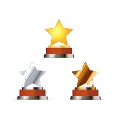Set of awards for winners with golden silver and vector