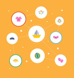 set of baby icons flat style symbols with toy car vector image