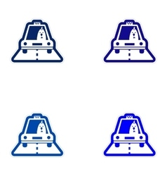 Set of paper stickers on white background Cock vector