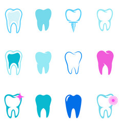 set tooth icons stomatology design elements vector image