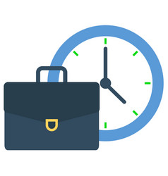 Suitcase or briefcase for businessman and clock vector