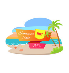summer sale hot offer 35 off poster tropical beach vector image