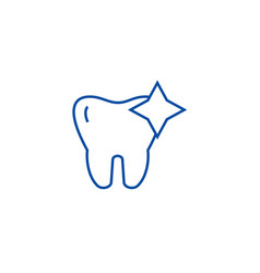 tooth with shinecleaned teeth line icon concept vector image