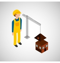 Under construction worker house crane vector