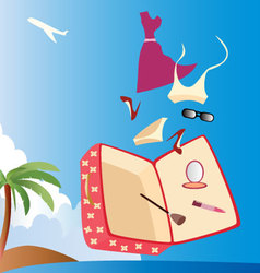 vacation-with-woman-suitcase vector image