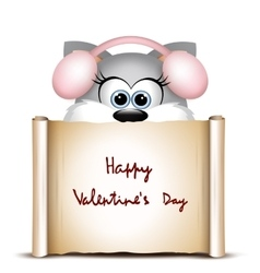 Valentines day card with funny cat vector
