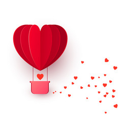 valentines day with red heart shape balloon vector image