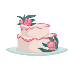 Wedding cake with flowers cream or icing isolated vector