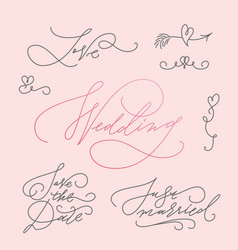 Wedding calligraphic letterings set vector
