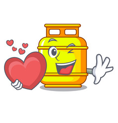 With heart creative in gas cartoon tank container vector