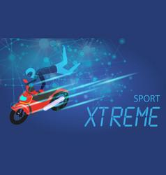 Xtreme sport banner biker doing tricks and jumps vector