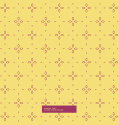 yellow background with simple flower pattern vector image