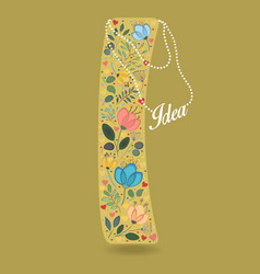 Yellow letter i with floral decor and necklace vector