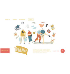 young characters help seniors landing page vector image