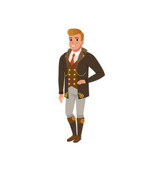 Young guy in steampunk clothes man in jacket vector