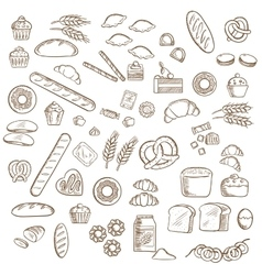 Bakery pastry and confectionery sketches vector image