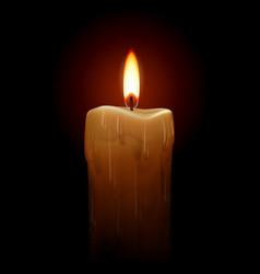 burning candle on black background for design vector image