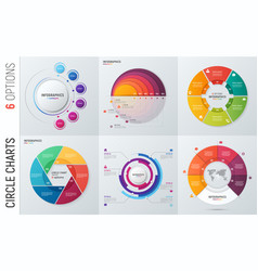 collection of circle chart infographic vector image vector image