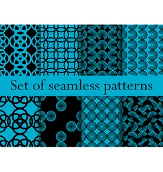 Set of seamless patterns with circles vector image vector image