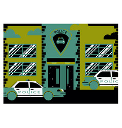 the police facade of the building vector image