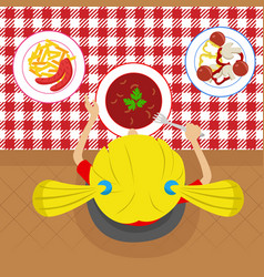 top view of little girl eatting soup vector image vector image