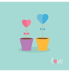 Two heart stick flowers in the pots and word love vector image vector image