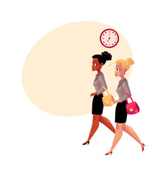 young businesswomen black and caucasian hurrying vector image vector image