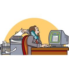 Businessman at desk vector image vector image