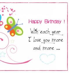Happy birthday butterfly invitation vector image